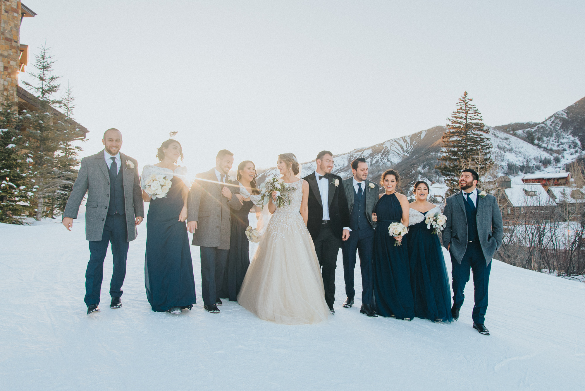 Wedding party portait under ski lift at Viceroy Snowmass