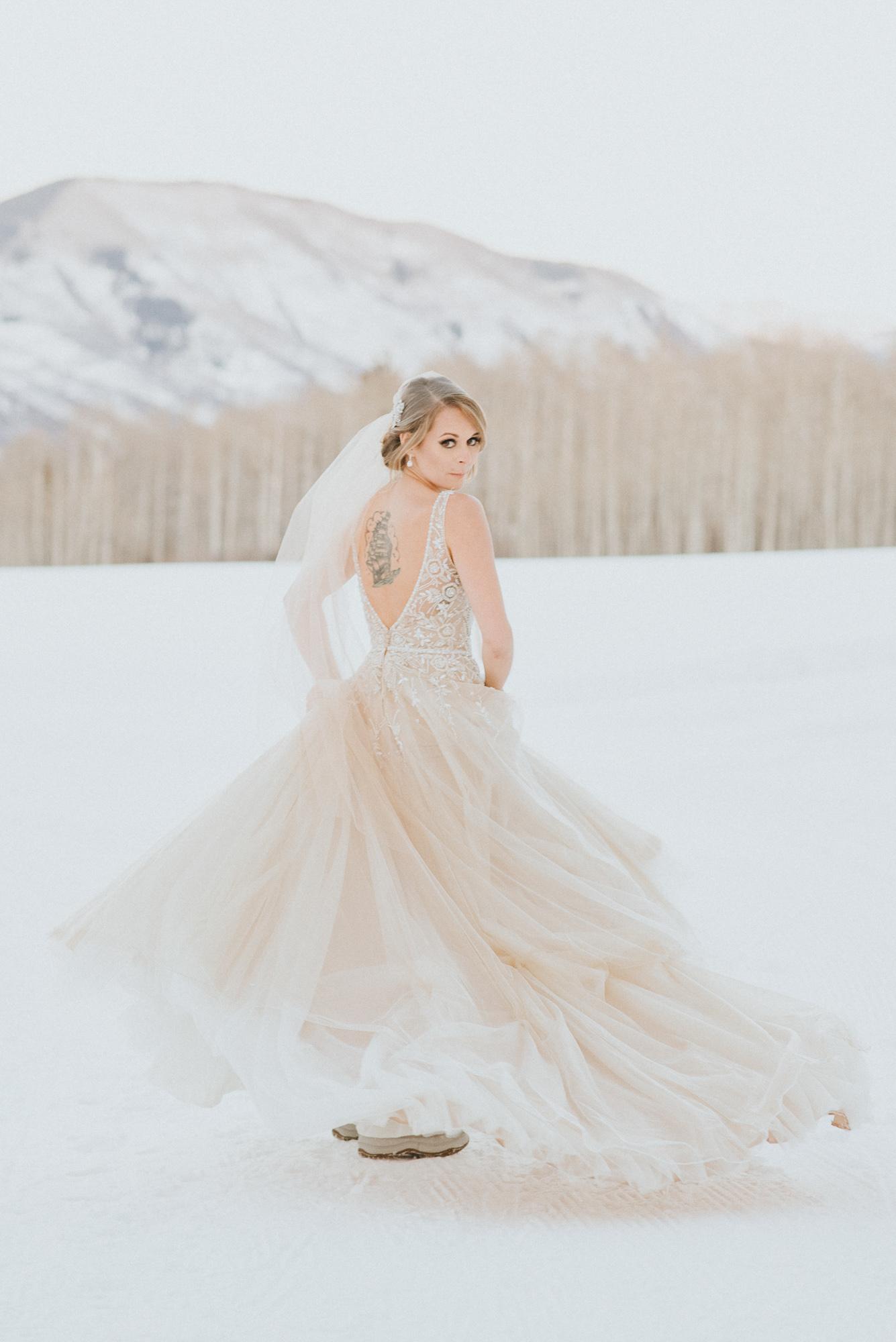 bride dress twirl aspen