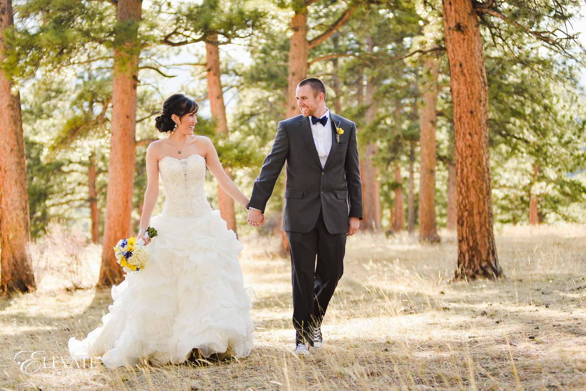estes park wedding photos bride woods Della Terra