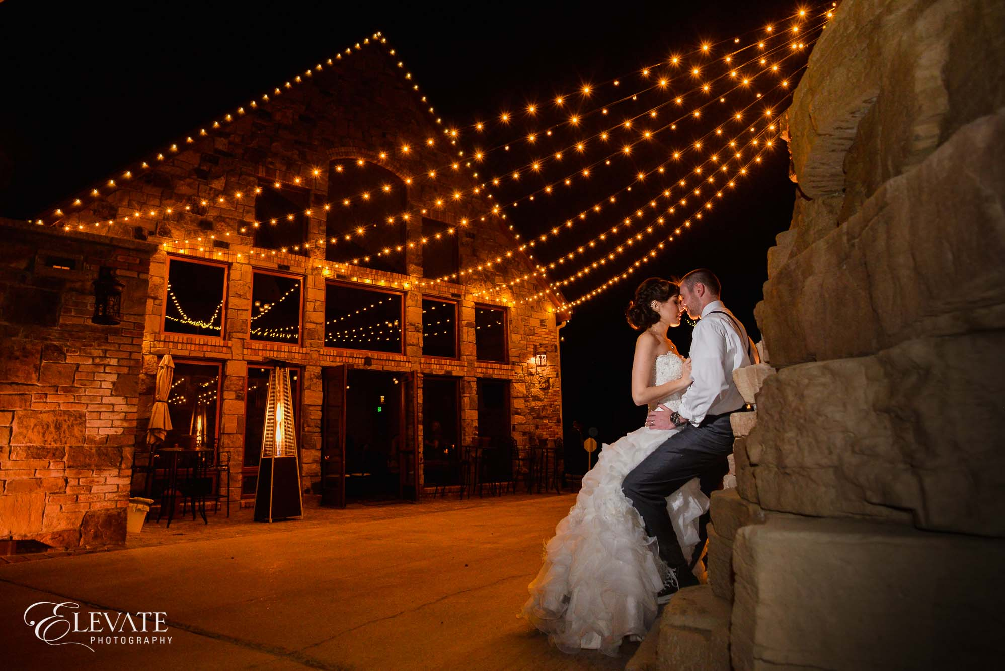 night portrait estes park wedding photos