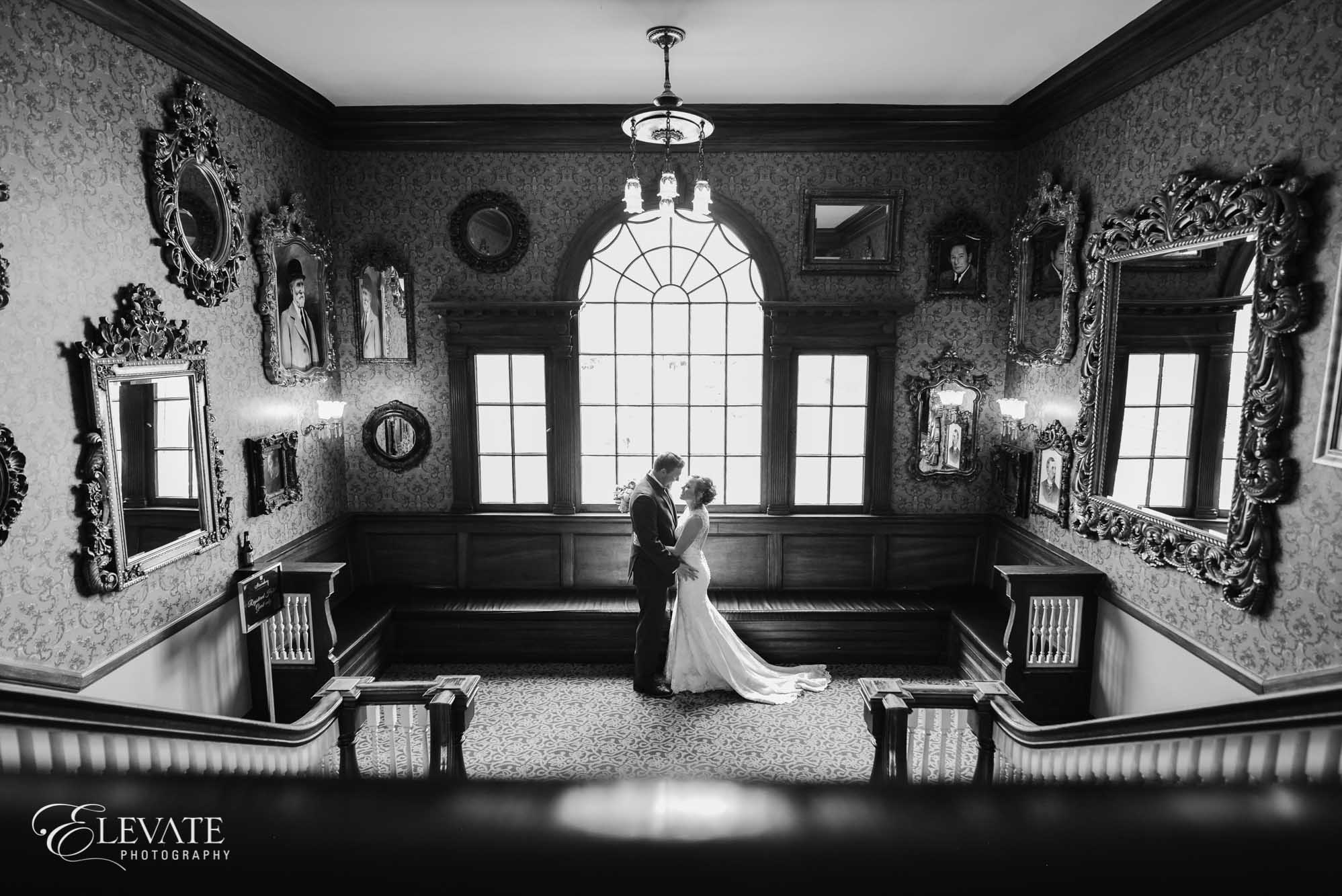 bw staircase estes park wedding photos
