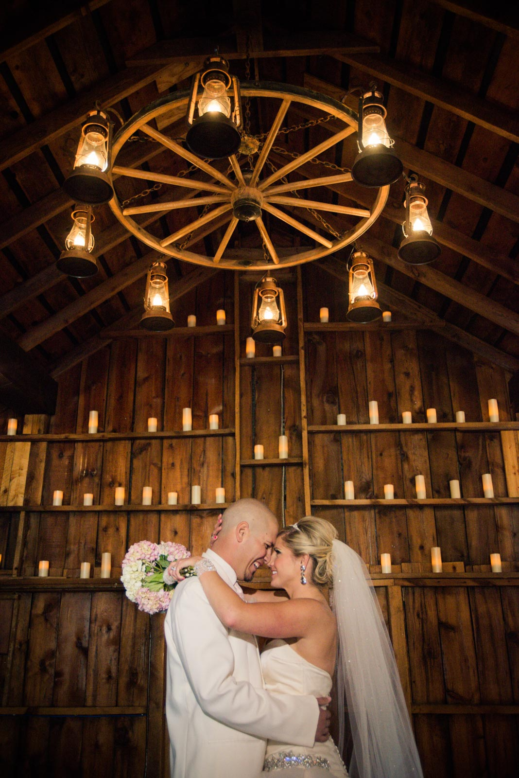bride and groom inside Crooked Willow