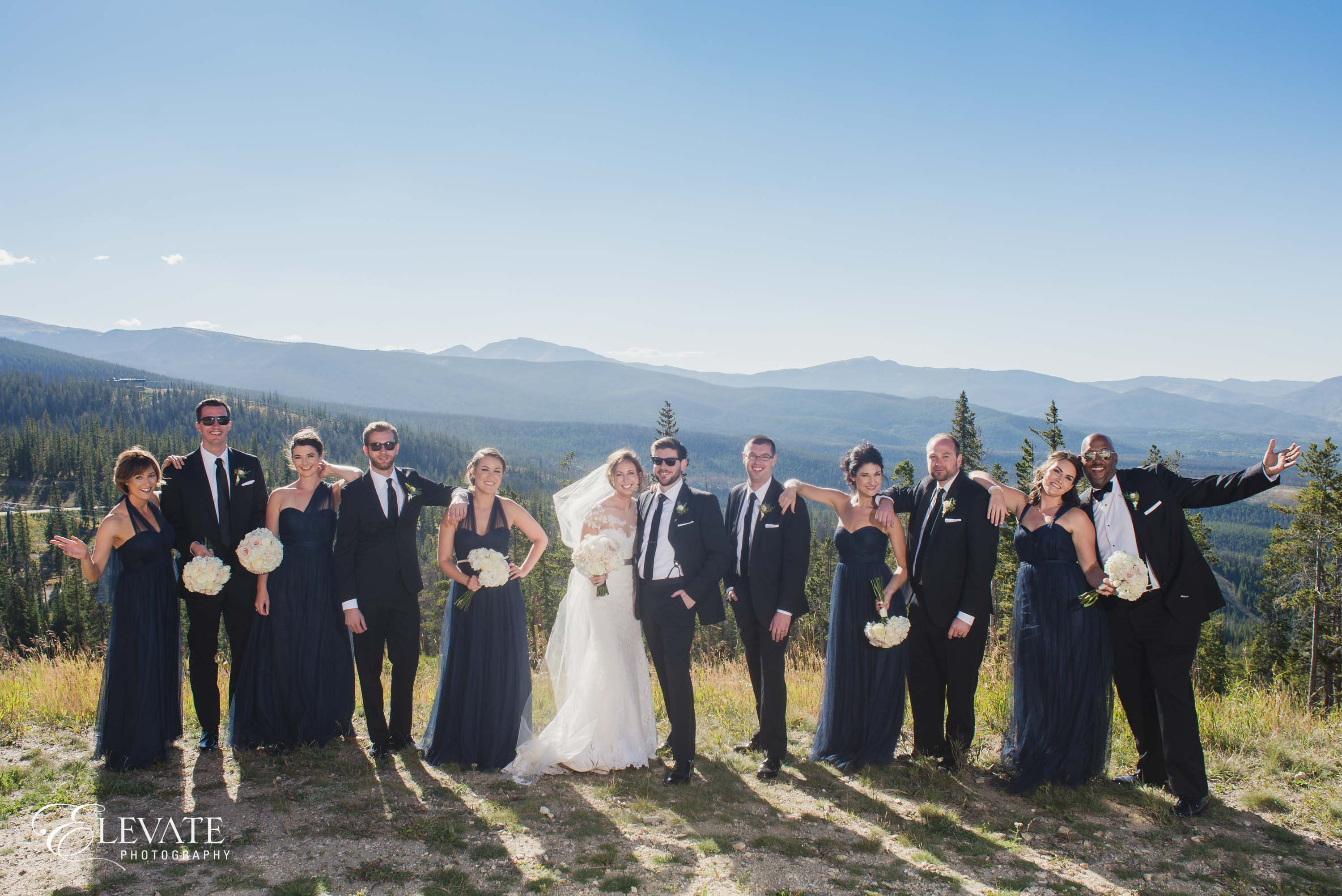 Wedding party on mountain