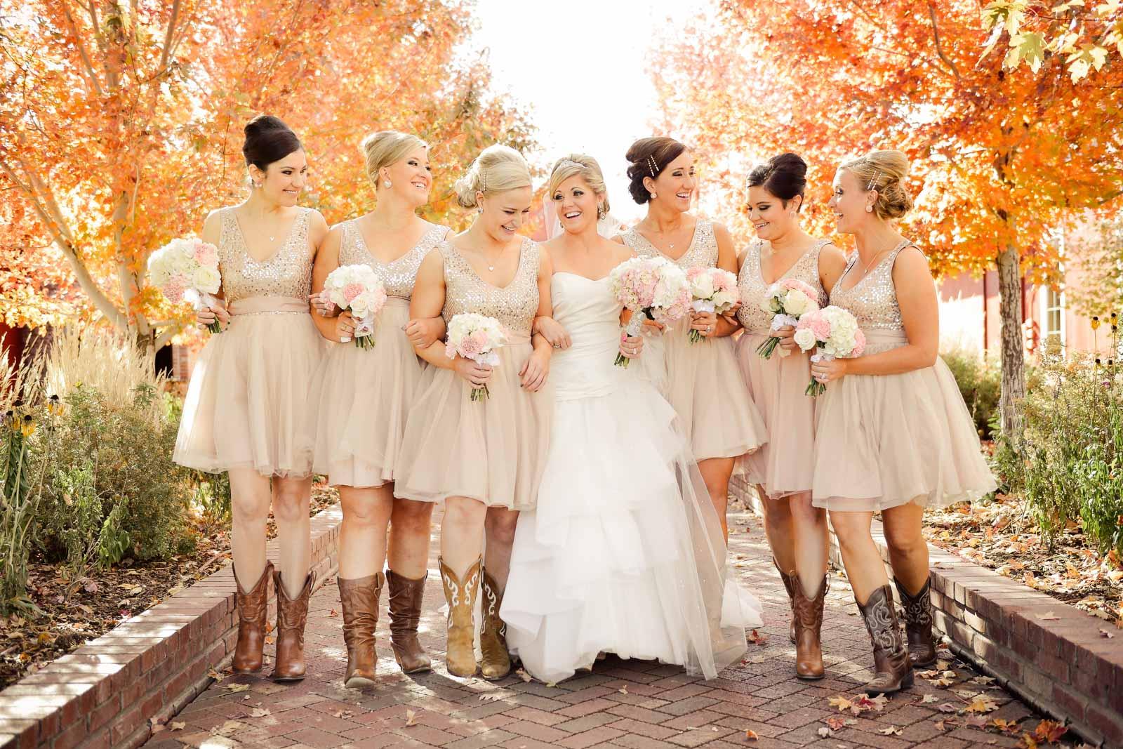 bridesmaids in fall