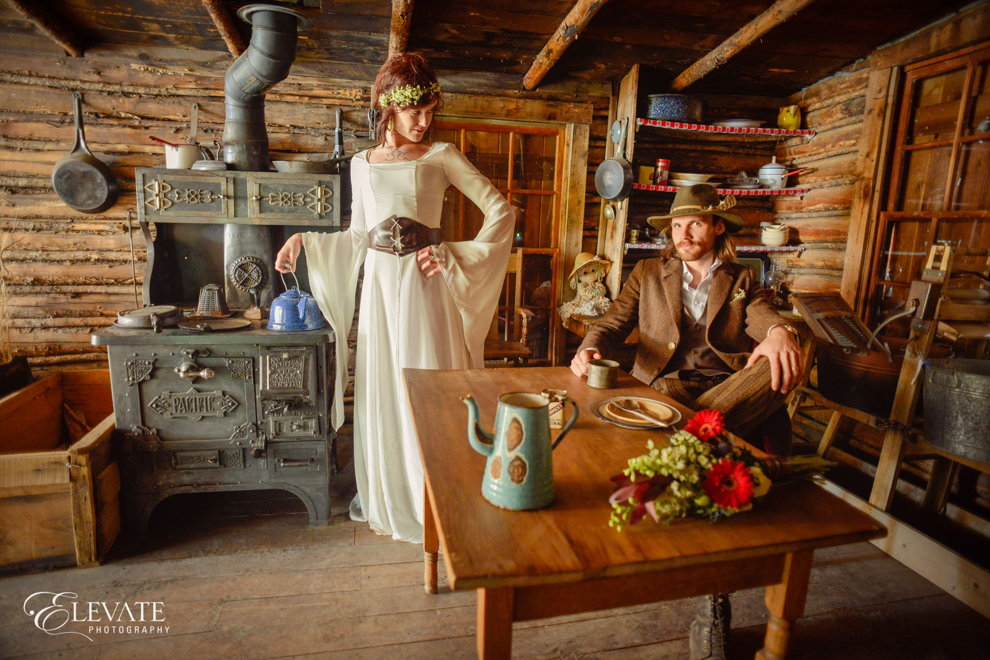 wedding couple inside barn