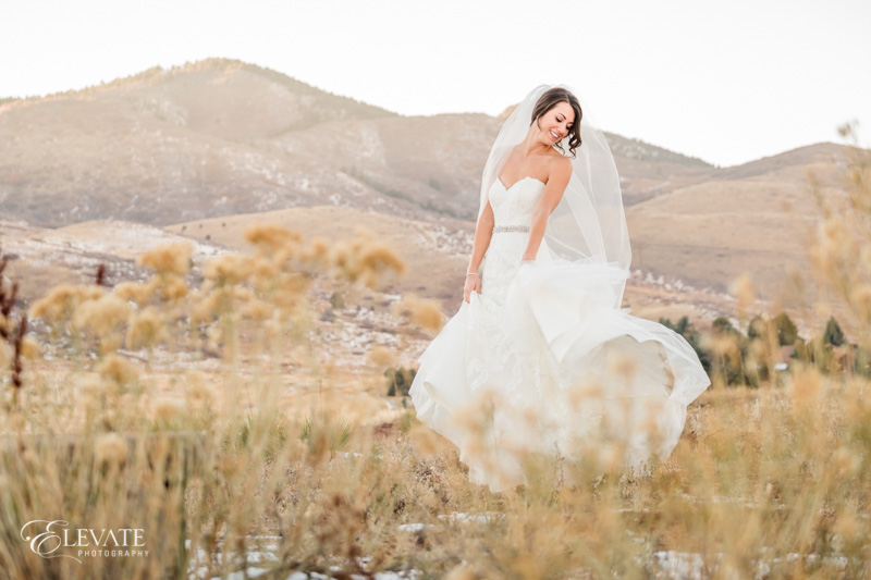 bride in field