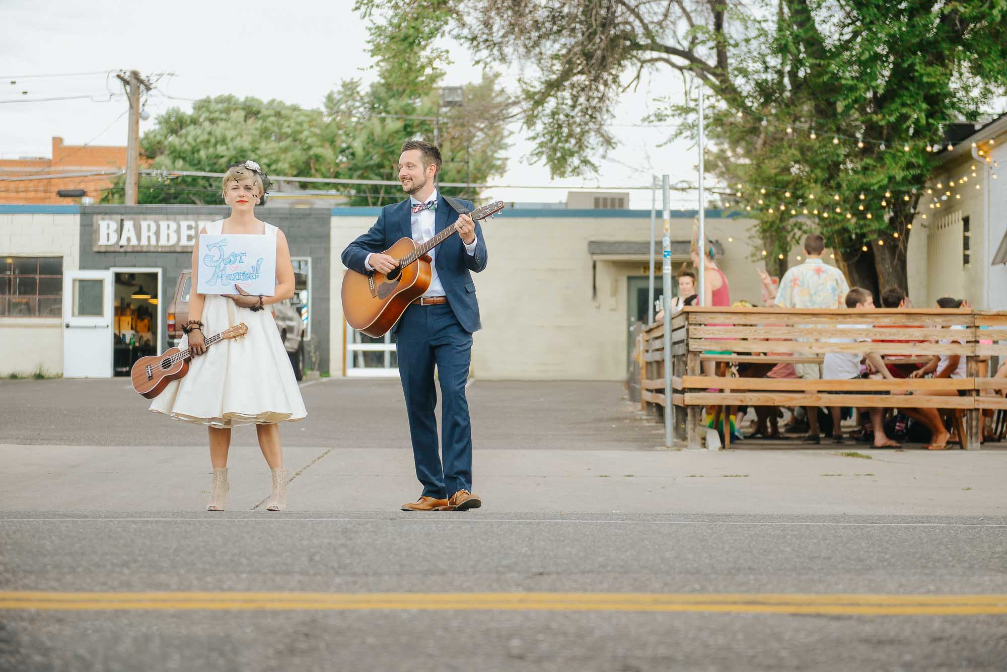 bride and groom in RiNo district.