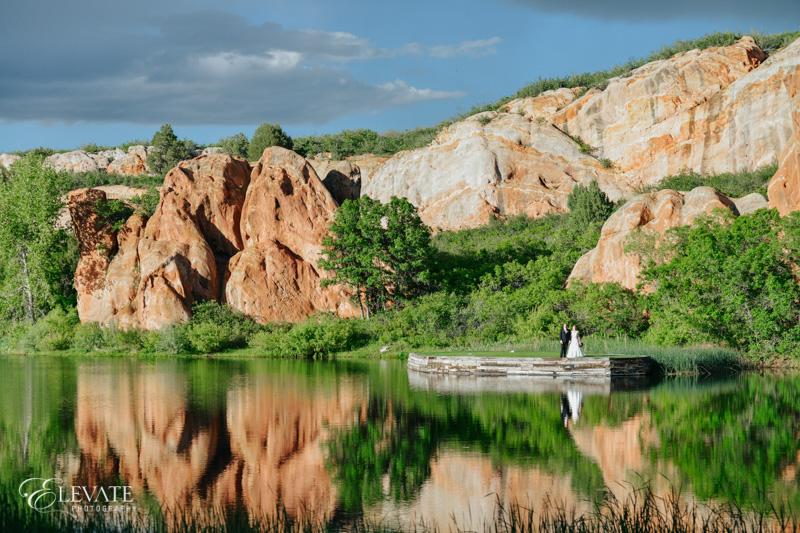 lake reflection wedding portrait