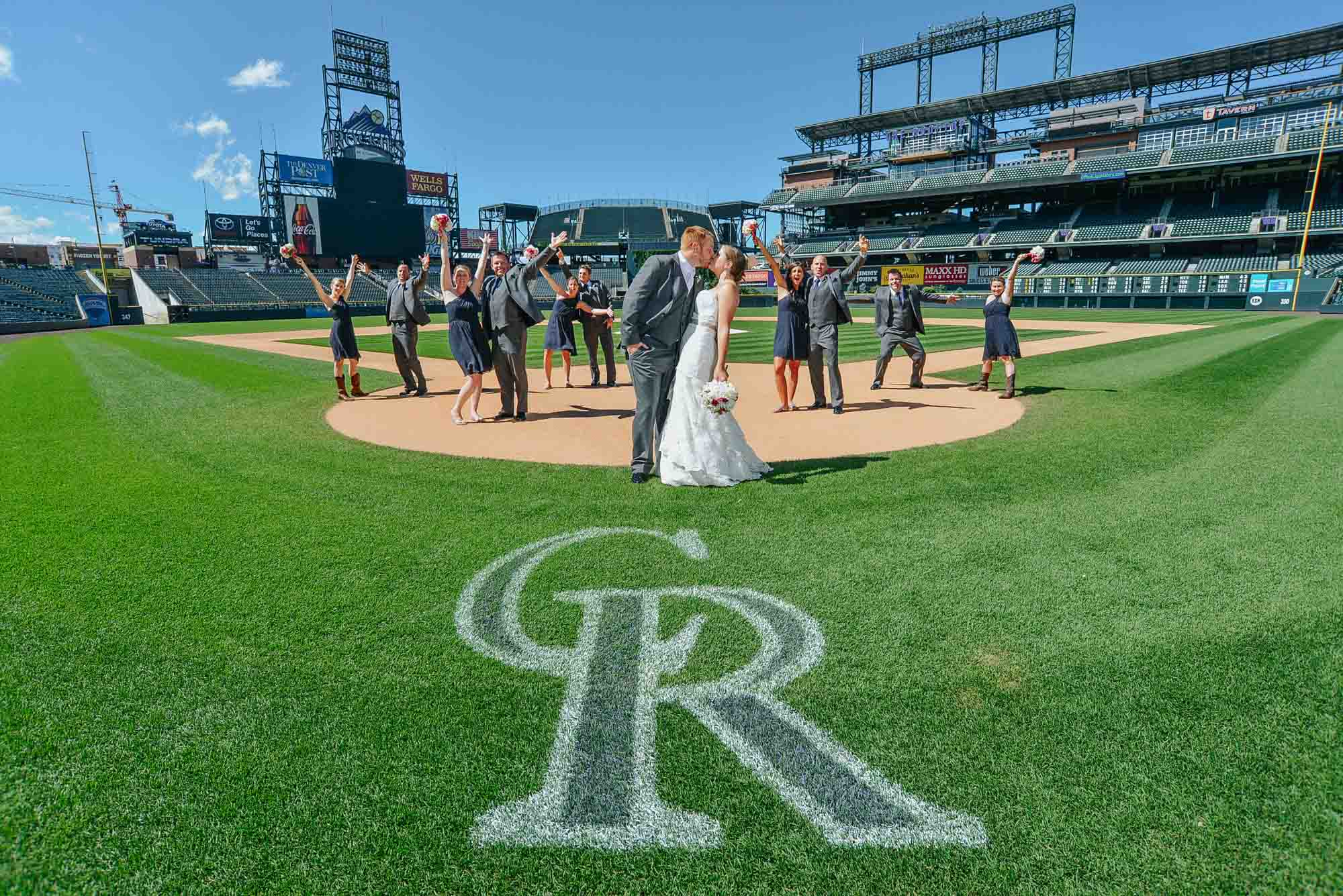 Wedding party at Coors Field