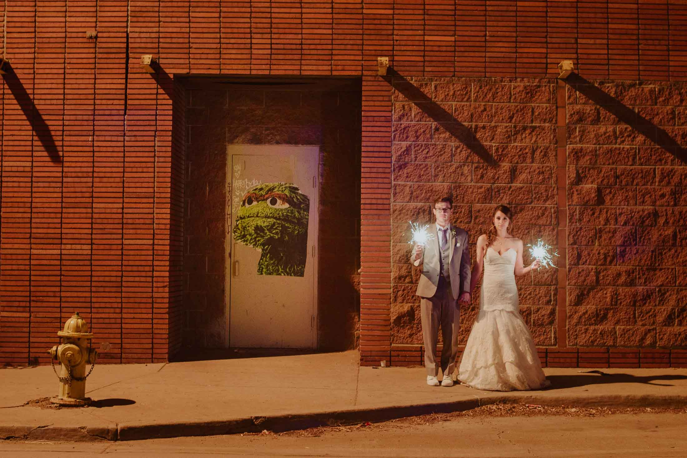 Night portrait bride and groom