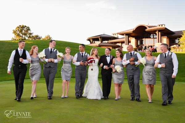 wedding party on grass