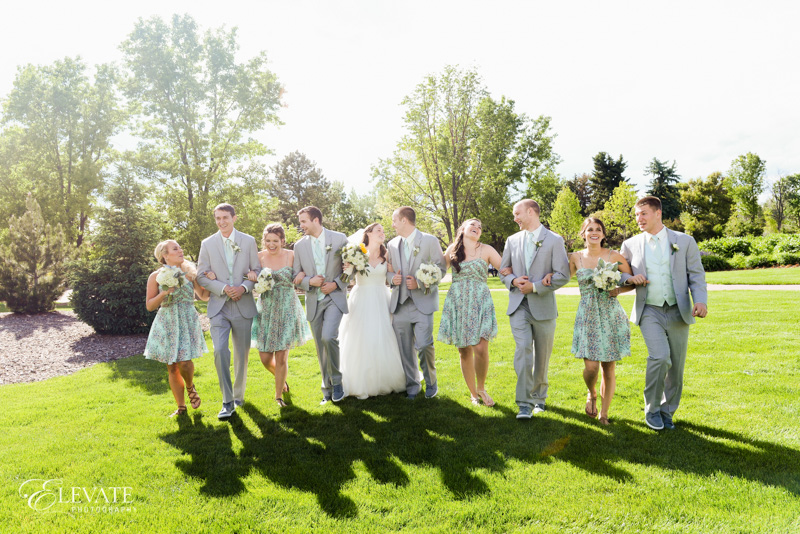 wedding party on lawn