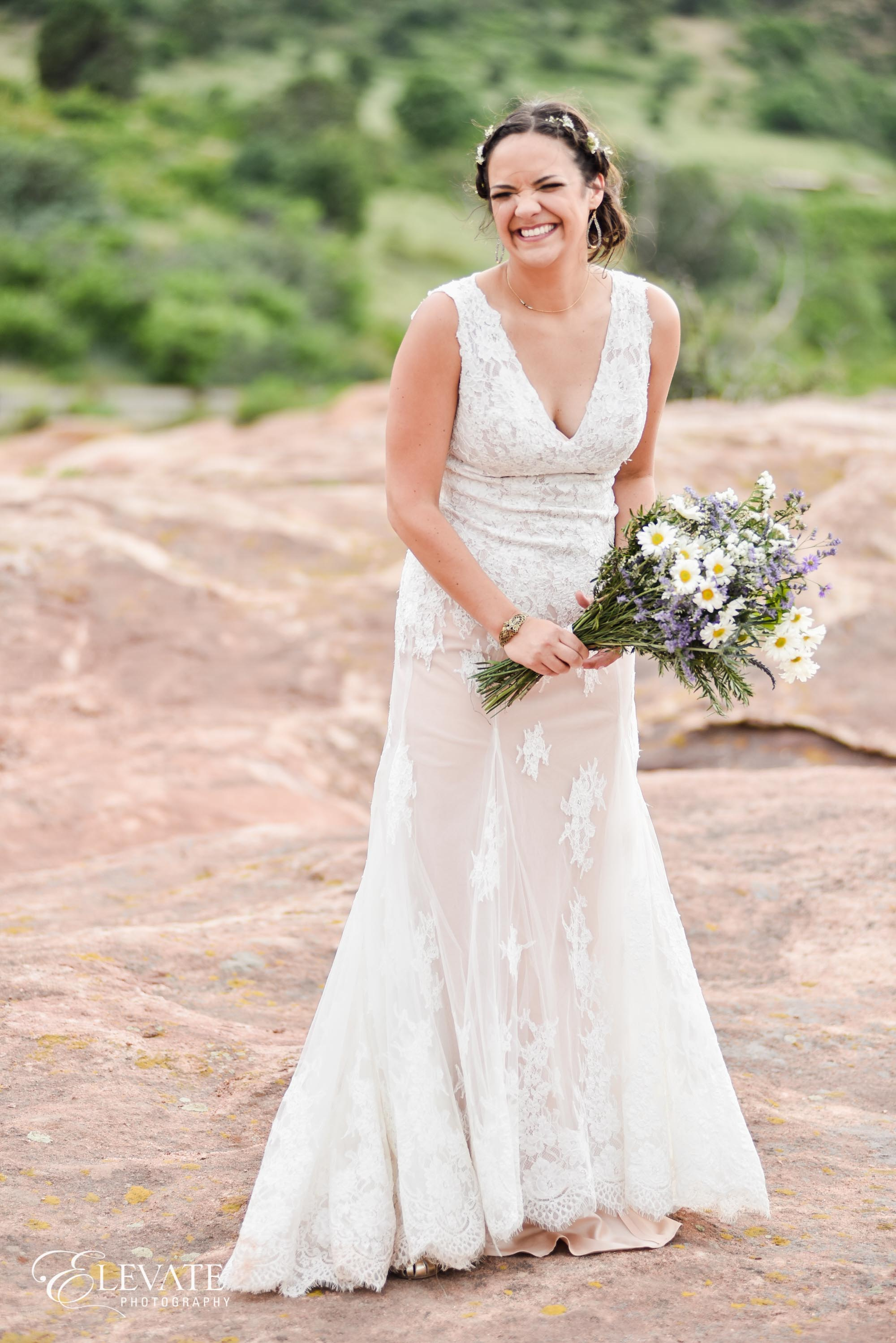 bride in dress with bouquet