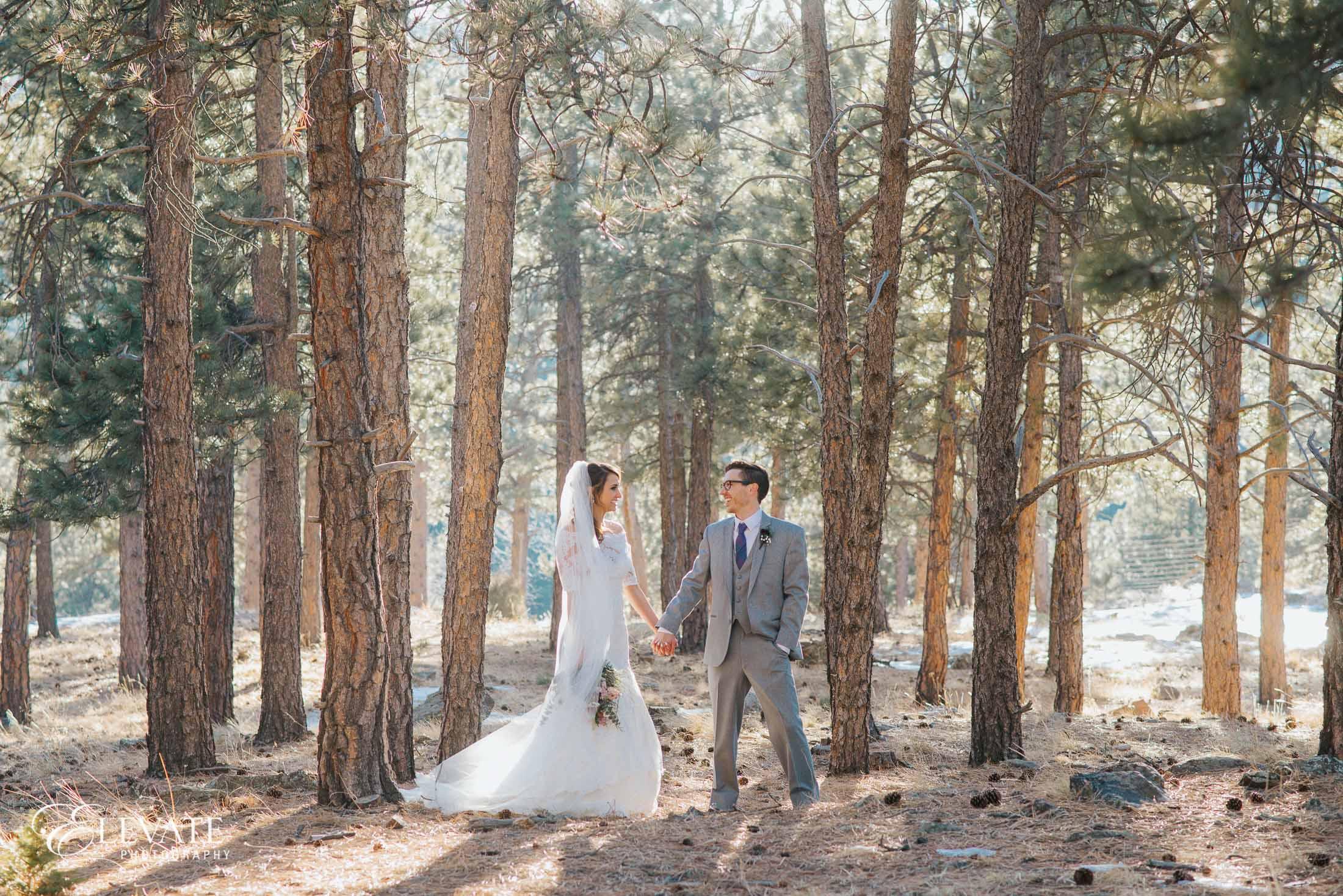 bride groom woods sunlight