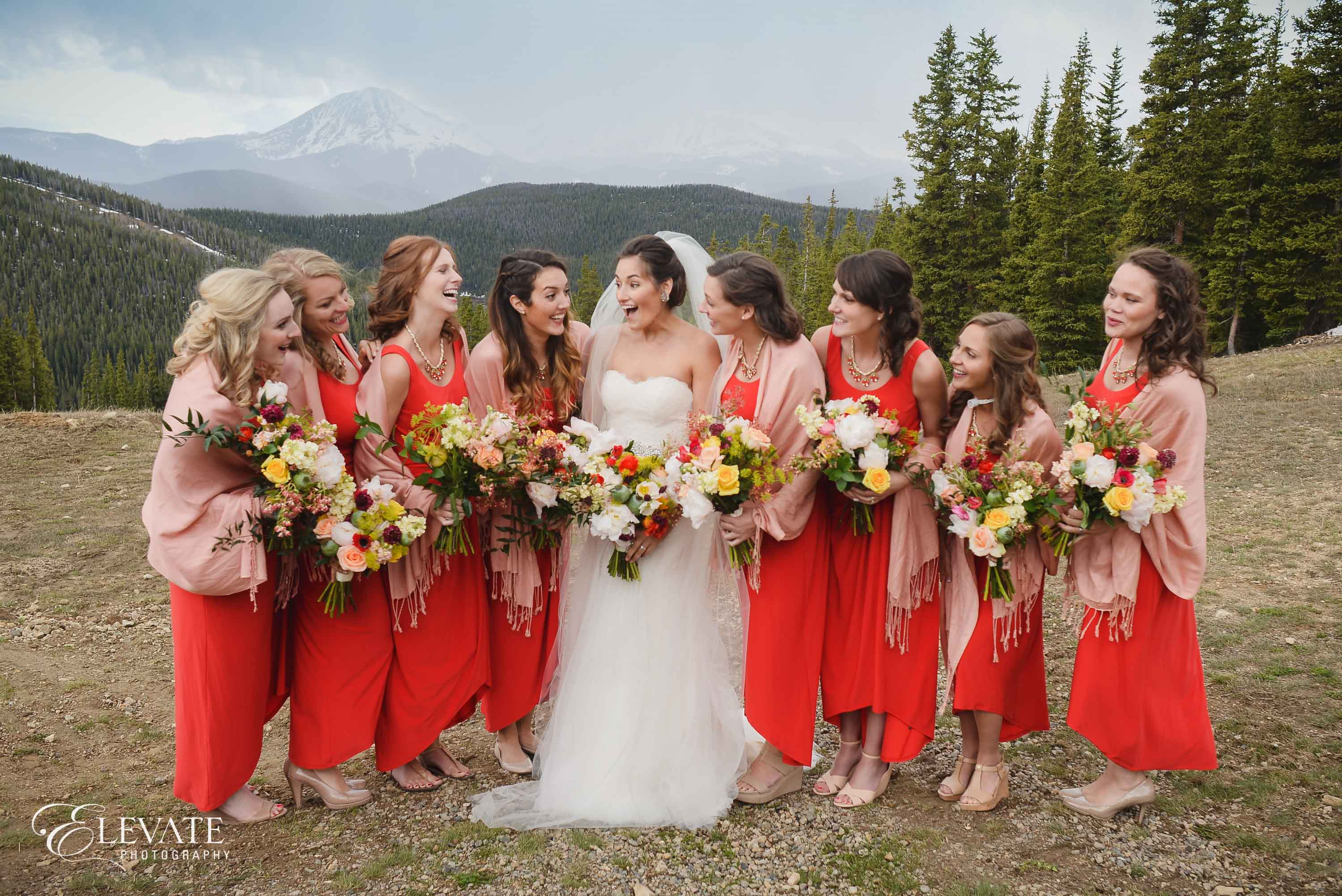 Bridesmaids red dresses