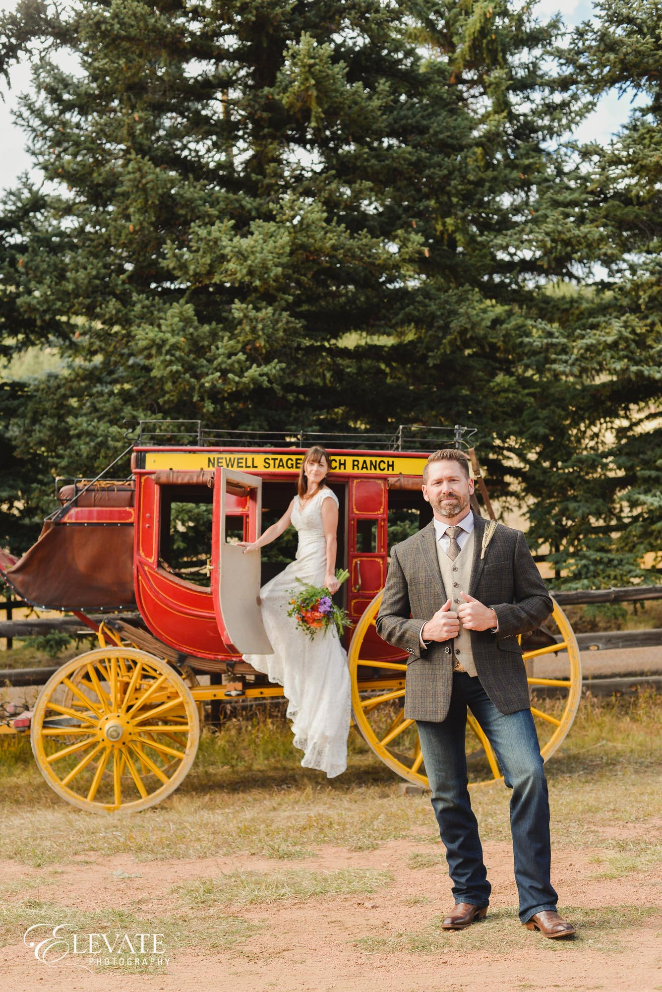 Wedding couple with horse and carriage
