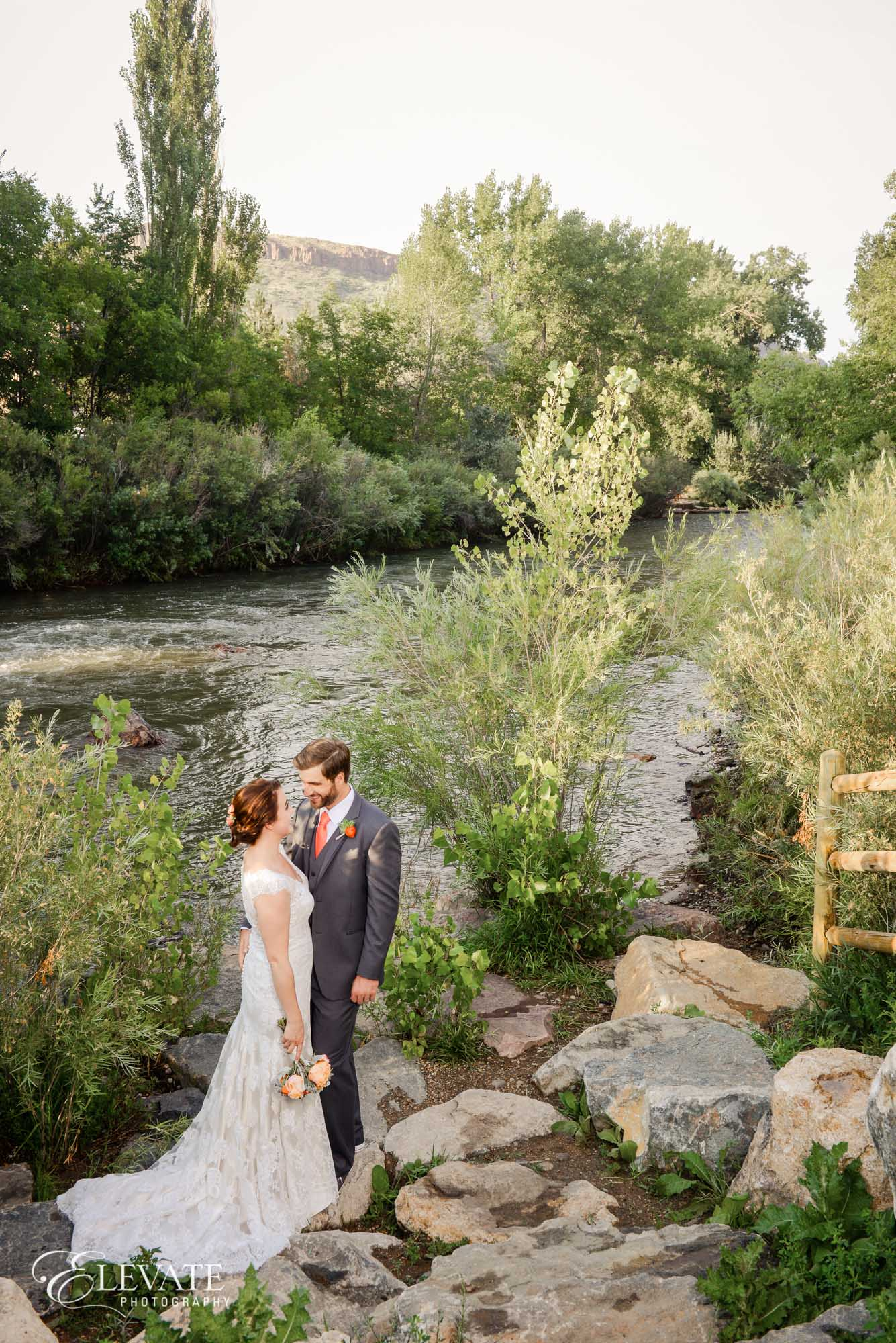 bride and groom Clear Creek river