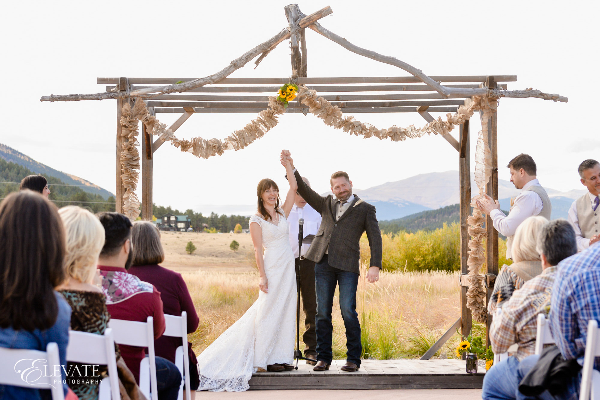 Wedding ceremony in mountains