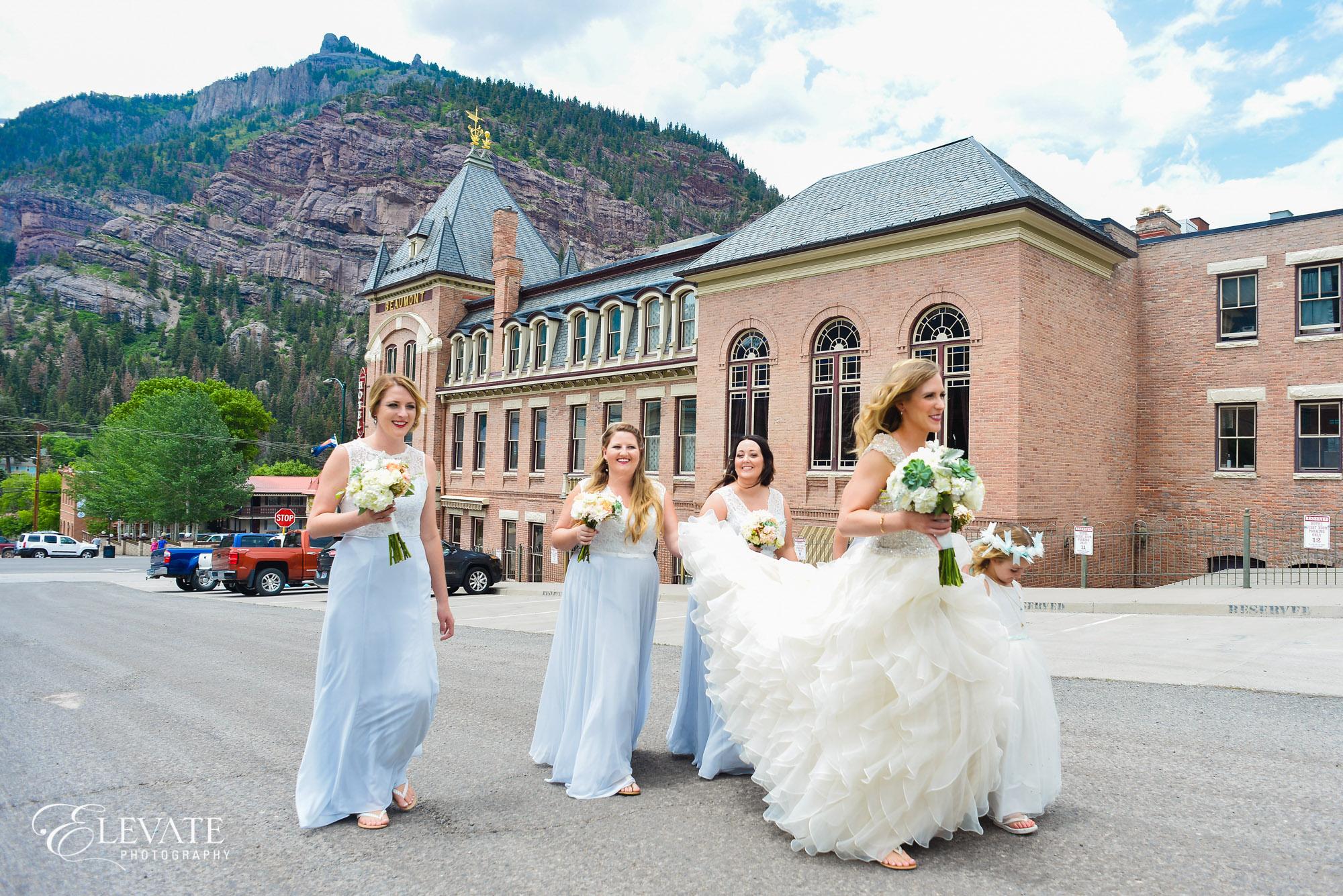 bridesmaids blue dresses telluride