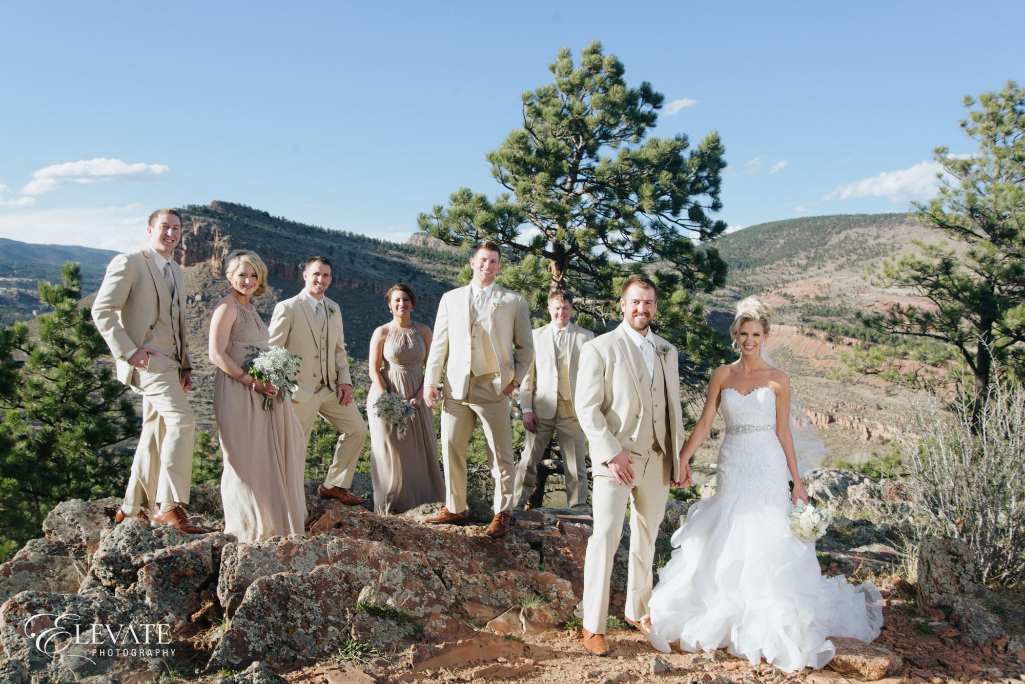 wedding party mountains