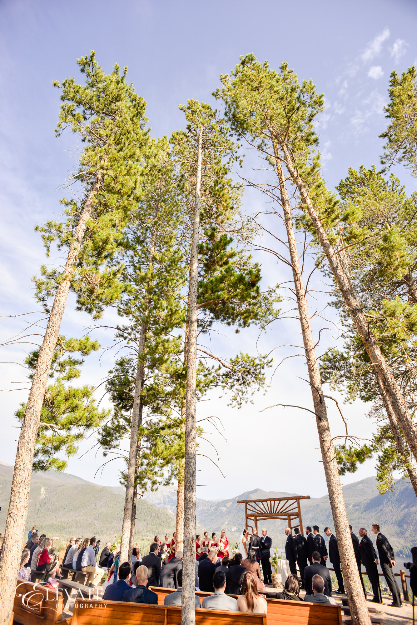 mountain wedding ceremony woods