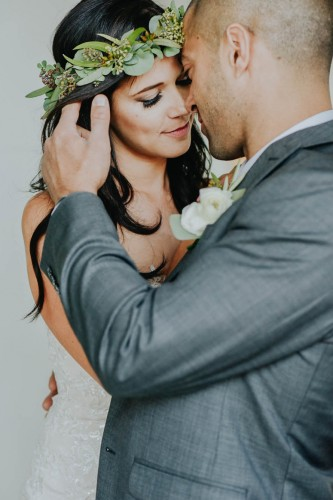 couple with ivy crown