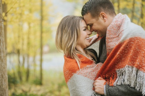 fall engagement orange blanket