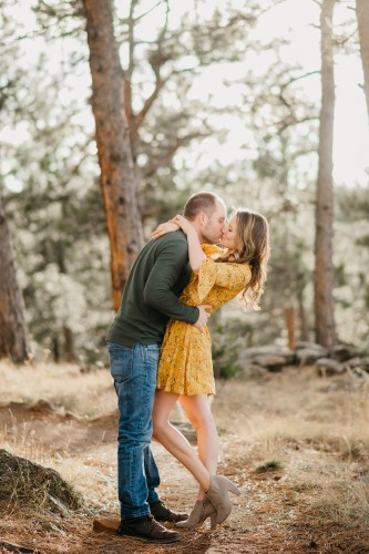 fall woods engagement yellow dress