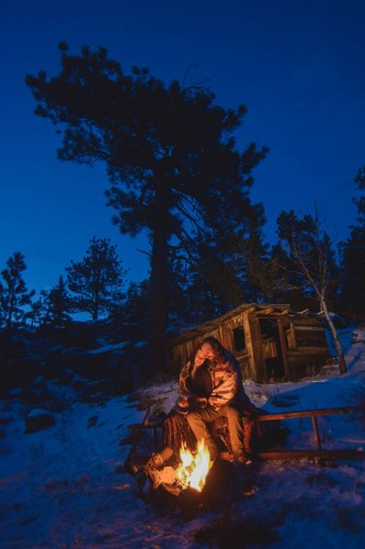 mountain campfire engagement winter