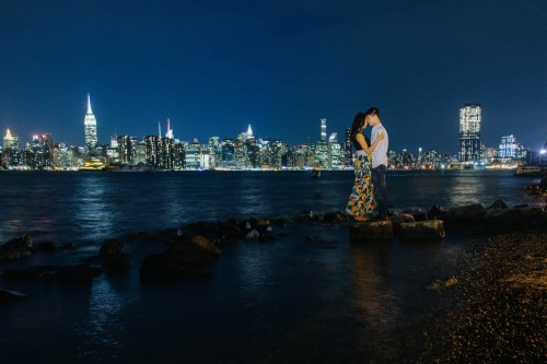new york city skyline engagement night