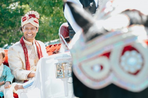 indian groom with horse processional