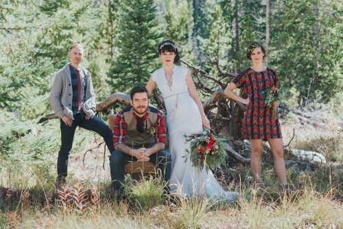 wedding party rustic mountain