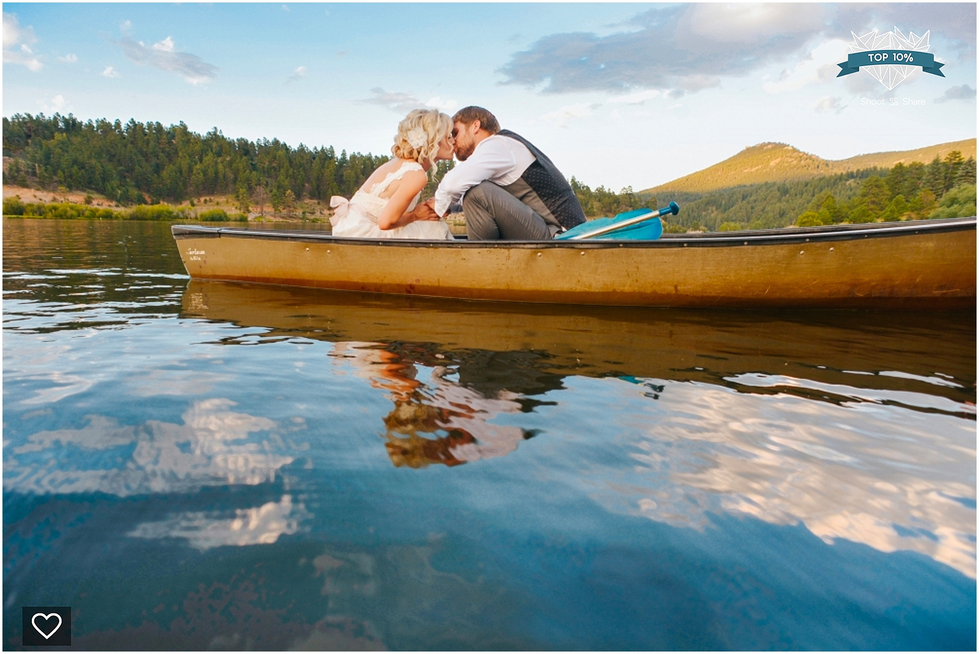 shoot and share, colorado wedding pictures, denver wedding pictures, colorado wedding photographer, couple on a lake, couple in a boat, wedding on a lake