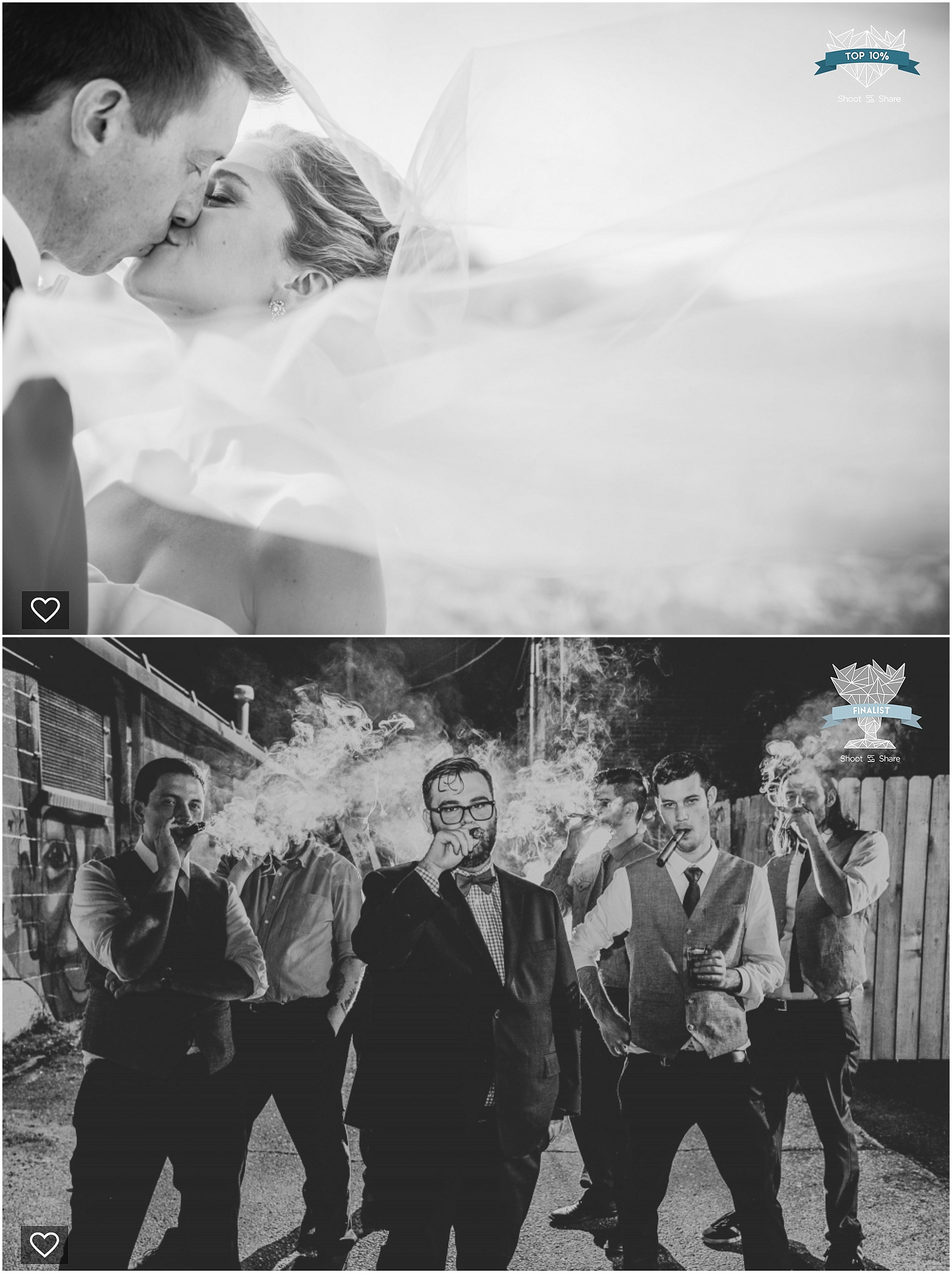 shoot and share, colorado wedding pictures, denver wedding pictures, colorado wedding photographer, groom smoking cigars, kissing couple, black and white wedding pictures