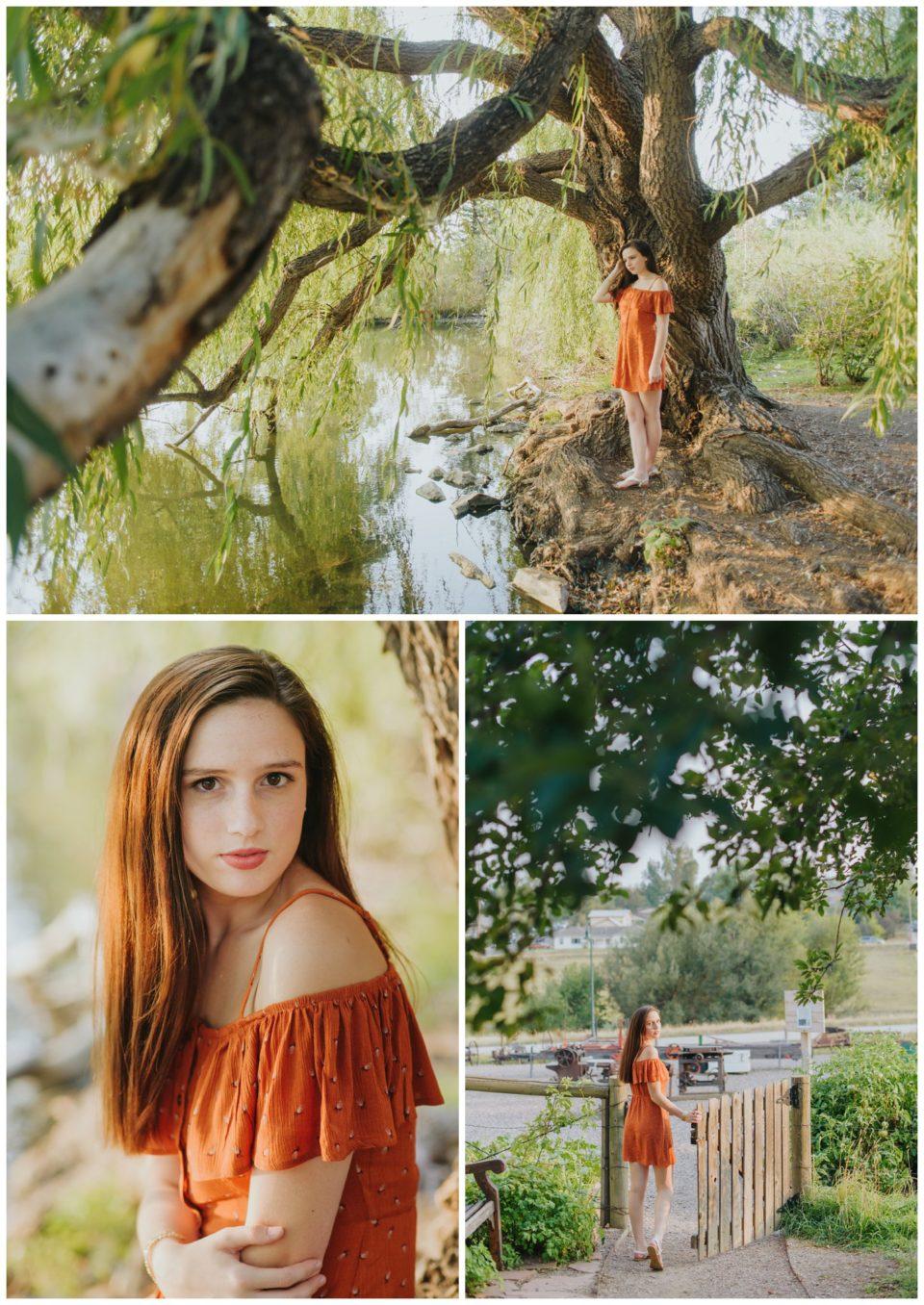 tree lake orange dress senior girl