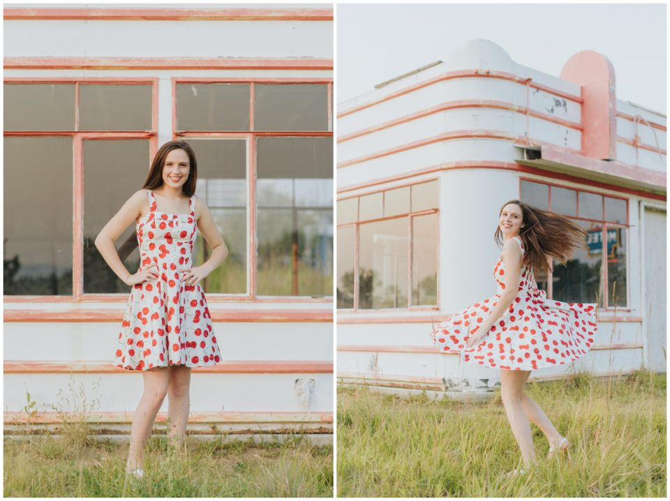 senior girl vintage red dress cherry dance