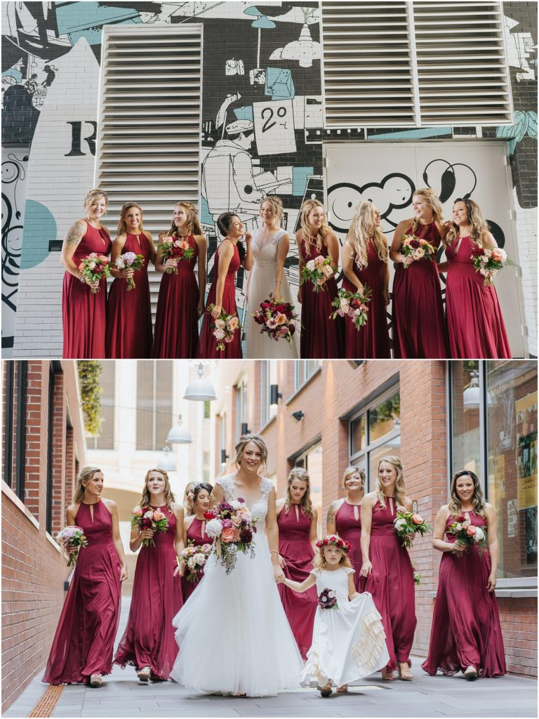 bridesmaids burgundy dresses