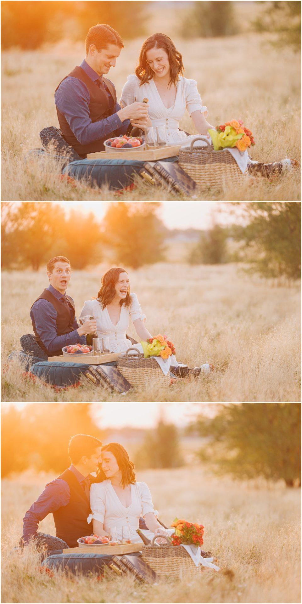 sunrise picnic engagement
