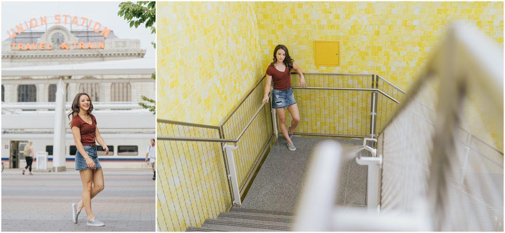 senior girl subway yellow tile