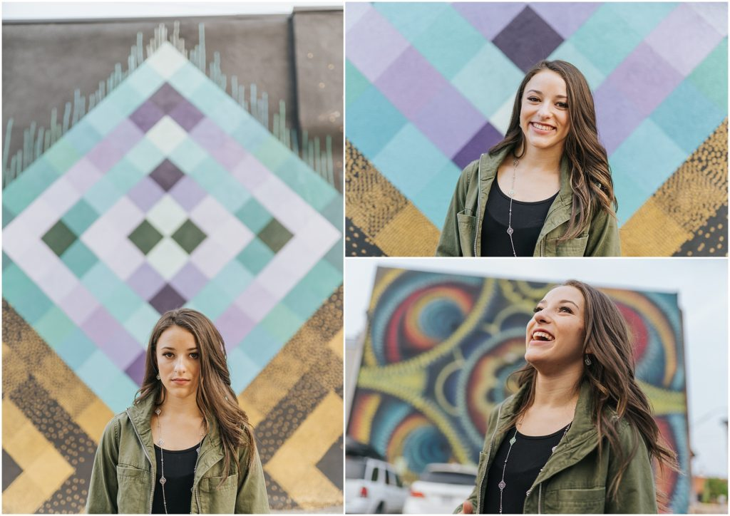 urban senior portrait wall art purple turquoise