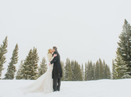winter wedding aspen mountain bride