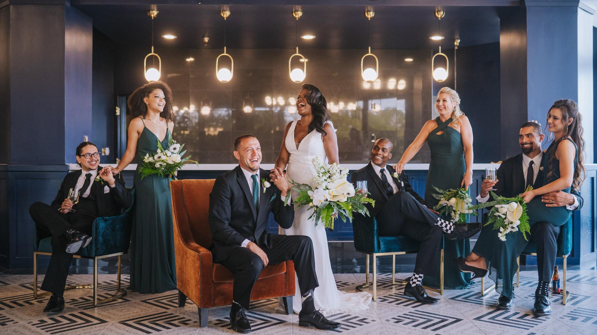 wedding party at fancy bar in Denver, Colorado