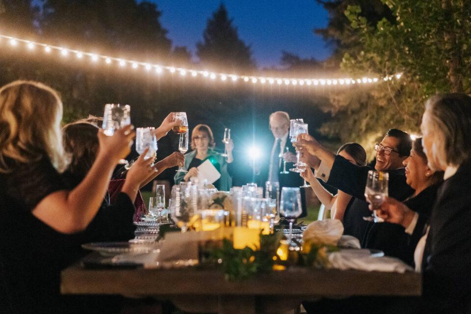 Toast at reception of Colorado wedding