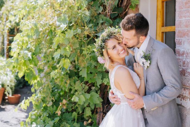 bride and groom at their wedding in Denver, Colorado