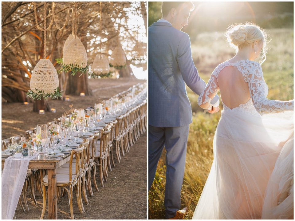 micro wedding reception details at sunset photographed by Elevate Photography