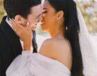 bride groom kiss sunset