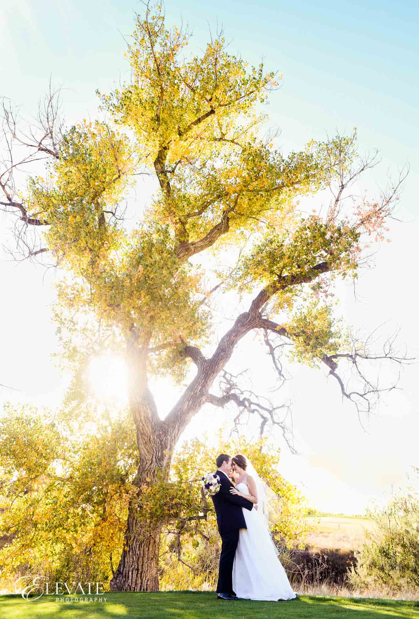 fall wedding couple portrait aurora