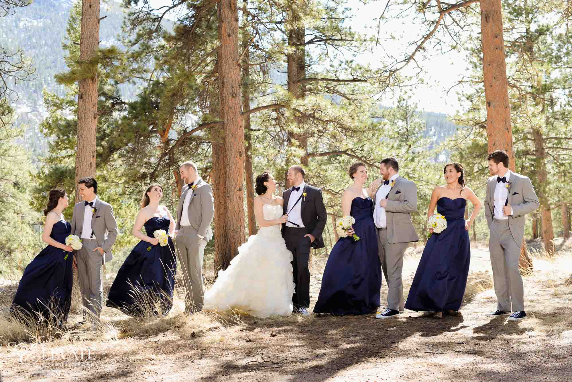 wedding party spring estes park wedding photos