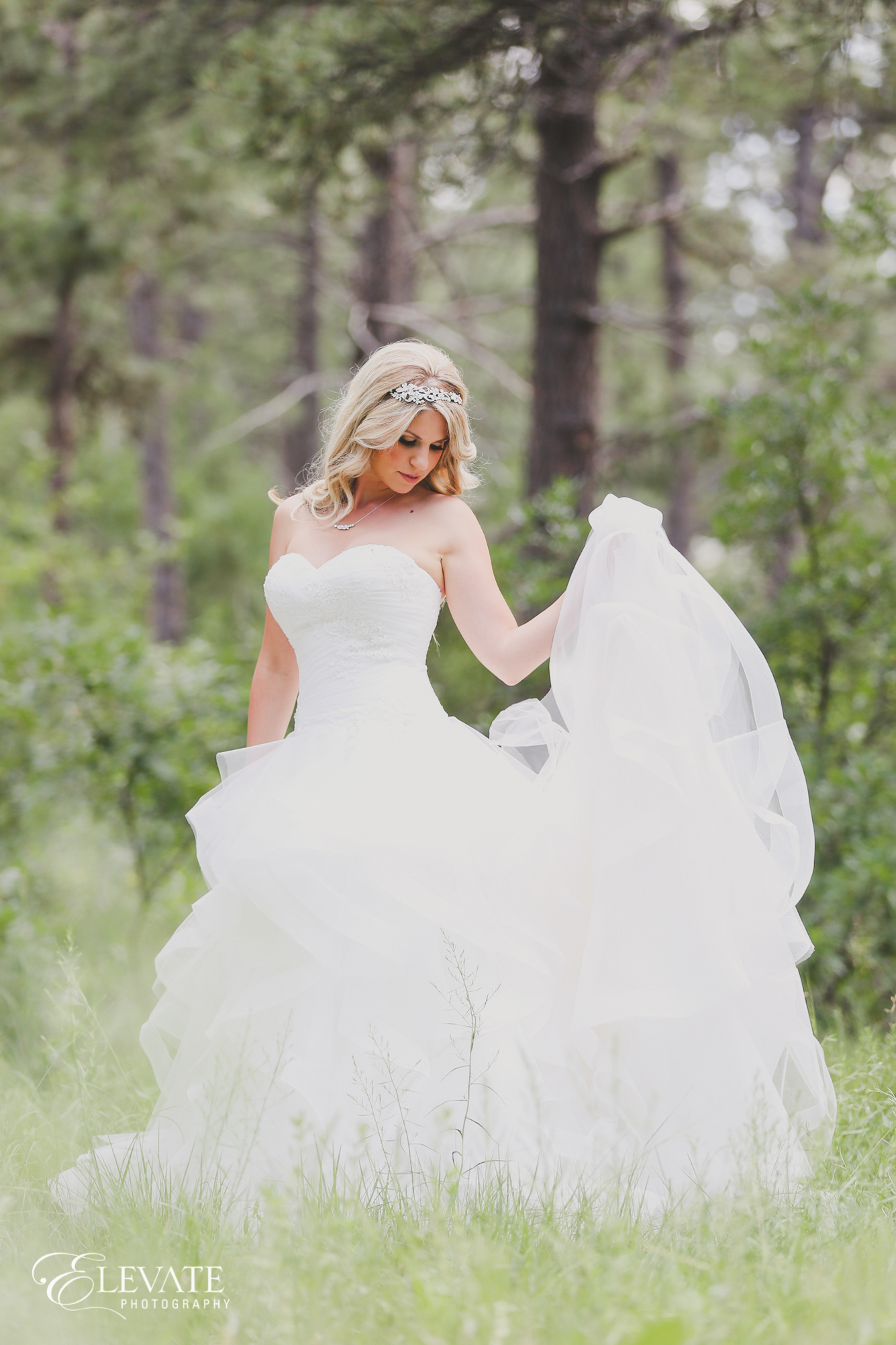 bride dress woods