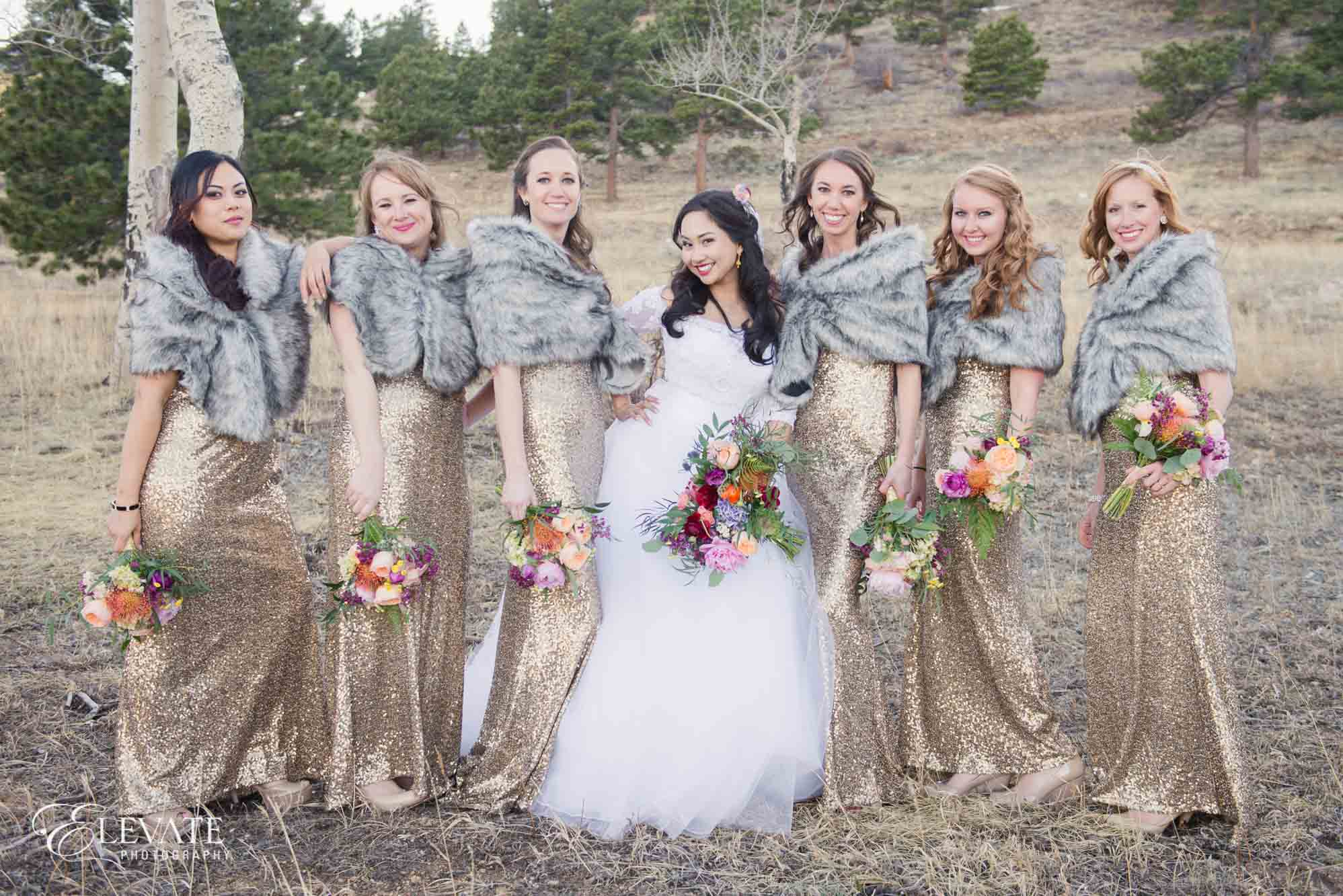bridesmaids gold dresses wedding photos estes park